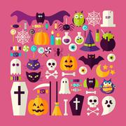 Stock Illustration of Flat Style Vector Big Set of Halloween Holiday Objects and Elements