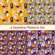 Stock Illustration of Four Vector Flat Seamless Trick or Treat Halloween Party Patterns Set