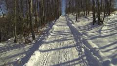 Stock Video Footage of Aerial forest winter empty curvy road