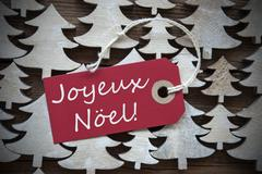 Red Label With Joyeux Noel Means Merry Christmas Stock Photos