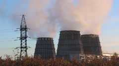 Evaporators nuclear plant smoke against the blue sky in good quality Stock Footage