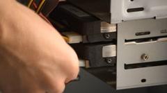 Pluging In SATA Hard Drive Stock Footage