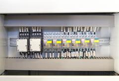 Relay panel with relays and wires - stock photo