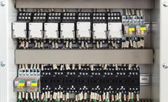 Relay panel with relays and wires Stock Photos