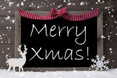 Gray Christmas Card, Snowflakes, Loop, Merry Xmas - stock photo