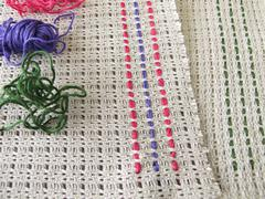 Weaving  stitches on canvas - stock photo