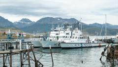 Argentine Naval Prefecture Boats Docked in Ushuaia Stock Footage