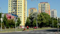 View of the housing estate with road nearby park  Stock Footage