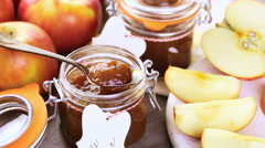 Homemade apple butter prepared from organic apples. Stock Footage