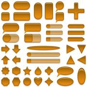 Stock Illustration of Wood glass buttons set