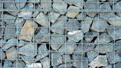 Wall built from rock and wires - detail - background Stock Footage