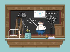 Lecture by professor - stock illustration