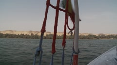 Sail rigging on felucca boat on River Nile, Egypt Stock Footage