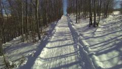 Sliding downhill through the woods. Aerial forest winter empty curvy road Stock Footage