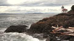 Lime Kiln Lighthouse Haro Strait Maritime Nautical Beacon Stock Footage