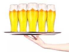 Waitresses holding tray with light beer isoalted Stock Photos