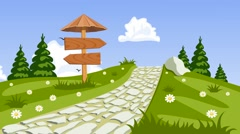 Vector summer landscape with a walkway, seamless - stock footage