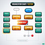 Modern organization chart template with glowing lights on white background. E Stock Illustration