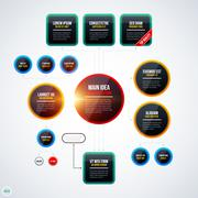 Modern organization chart template with glowing lights on white background. E - stock illustration