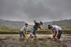 Chinese schoolgirl working on flooded farmers field Stock Photos