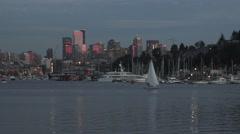 Lake Union Boats Homes Dock Seattle City Skyline Washington Stock Footage