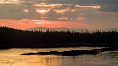 Alaska Frontier Tree Tops at Sunrise Sunset with Coastline - stock footage