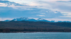 Alaska Snow Capped Mountains from Ship at Sea - stock footage