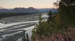 Mountains of the Denali Range Wide Shot Panning Across Stock Footage