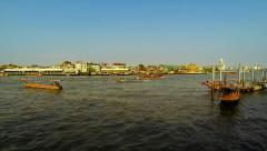 Chao Phraya river in evening light. Bangkok. Speed up. - stock footage