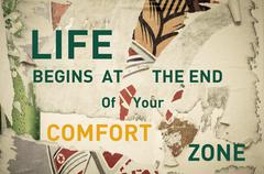 Inspirational message - Life begins at the End of your Comfort Zone - stock illustration