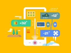 Weather application - stock illustration