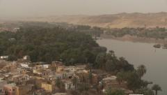 Elephantine Island at Aswan in Nile River Egypt pan L-R, aeiral view Stock Footage