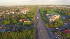 Aerial of busy free flowing motorway traffic running smoothly Stock Footage