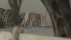 Felucca sailing on Nile River, view of other boats through rigging Stock Footage