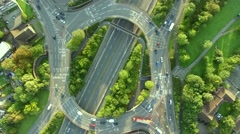 Flying above huge roundabout - stock footage