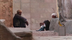 Guards in Egyptian temple complex ruins near Luxor, Egypt Stock Footage