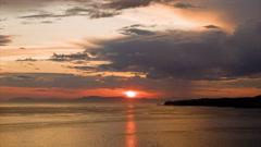 Majestic Alaska Seascape with Vibrant Sky at Sunrise Sunset Stock Footage