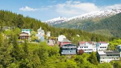Ketchikan Alaska Residential Homes in the Hills during Summer Stock Footage
