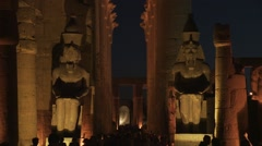Karnak temple ancient Egyptian ruins at night in Luxor, Egypt - stock footage