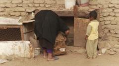 Nubian village life on Elephantine Island, Egypt - mother and child Stock Footage