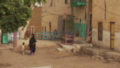 Nubian village life on Elephantine Island, Nile River, Egypt - wide shot Stock Footage
