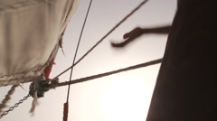 Rigging a sail on felucca boat on River Nile in Egypt Stock Footage