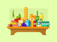 Food set on the table - stock illustration