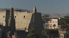 Town view of ruins at Luxor, Egypt, daytime, static Stock Footage