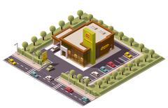 Vector isometric fast food restaurant - stock illustration