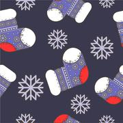 seamless winter  Christmas pattern with socks - stock illustration