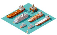 Vector isometric ships and oil rig - stock illustration
