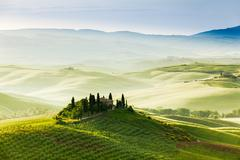 Spring landscape of fields Tuscany, Italy - stock photo