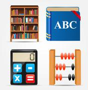 Bookcase, Notepad, Calculator, Abacus Icon Vector Illustration - stock illustration