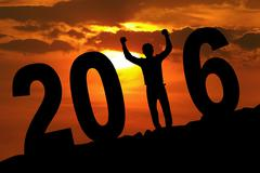 Cheerful person with 2016 on the hill Stock Illustration